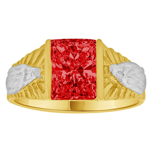 14k Yellow Gold White Rhodium, Classic Virgin Religious Ring Created Cubic Zirconia Crystal Red (R261-207)