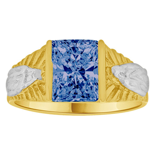 14k Yellow Gold White Rhodium, Classic Virgin Religious Ring Created Cubic Zirconia Crystal Dark Blue (R261-209)