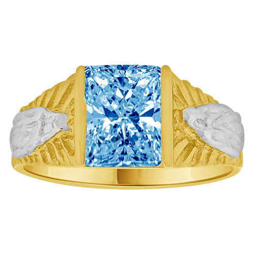 14k Yellow Gold White Rhodium, Classic Virgin Religious Ring Created Cubic Zirconia Crystal Blue (R261-212)