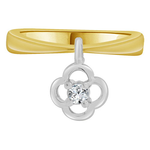 14k Yellow Gold White Rhodium, Small Baby Child Kid Ring Adult Pinky Ring Dangling Flower Created CZ Crystal (R261-304)