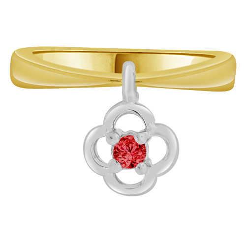 14k Yellow Gold White Rhodium, Small Baby Child Kid Ring Adult Pinky Ring Dangling Flower Created CZ Crystal Red (R261-307)
