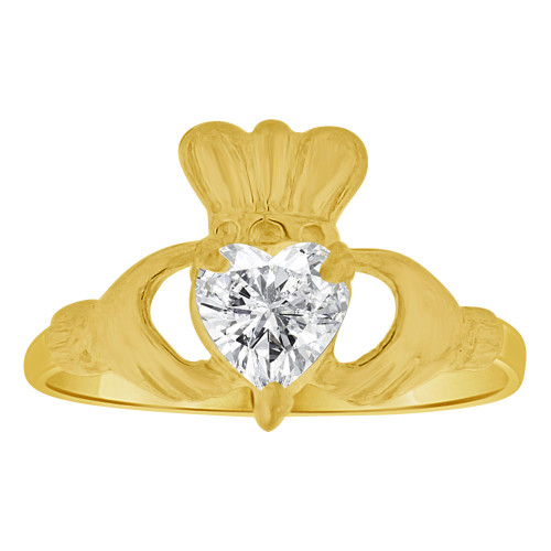 14k Yellow Gold, Small Child Size Heart Hand Irish Band Style Adult Pinky Ring Created CZ Crystal (R261-404)