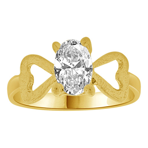14k Yellow Gold, Small Size Children Kids Baby Ring Adult Pinky Ring Created CZ Crystal (R261-504)