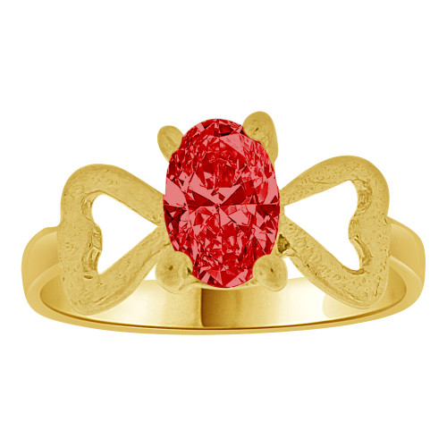 14k Yellow Gold, Small Size Children Kids Baby Ring Adult Pinky Ring Created CZ Red Crystal (R261-507)