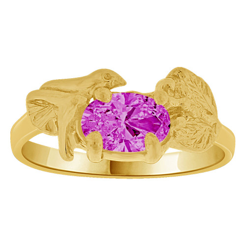 14k Yellow Gold, Small Size Children Kids Baby Ring Adult Pinky Ring Bird Leaves Design Created CZ Crystal Purple (R261-702)