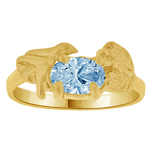 14k Yellow Gold, Small Size Children Kids Baby Ring Adult Pinky Ring Bird Leaves Design Created CZ Crystal Aqua Blue (R261-703)