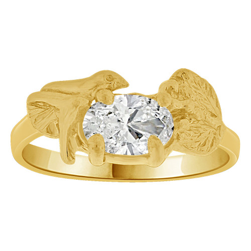 14k Yellow Gold, Small Size Children Kids Baby Ring Adult Pinky Ring Bird Leaves Design Created CZ Crystal (R261-704)