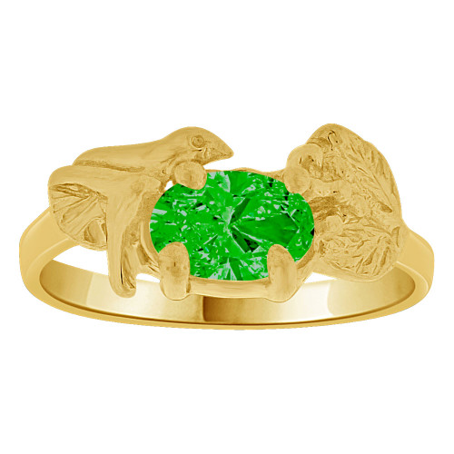 14k Yellow Gold, Small Size Children Kids Baby Ring Adult Pinky Ring Bird Leaves Design Created CZ Crystal Green (R261-705)