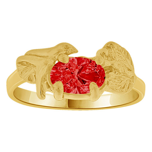 14k Yellow Gold, Small Size Children Kids Baby Ring Adult Pinky Ring Bird Leaves Design Created CZ Crystal Red (R261-707)