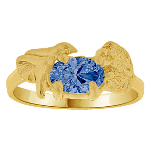 14k Yellow Gold, Small Size Children Kids Baby Ring Adult Pinky Ring Bird Leaves Design Created CZ Crystal Dark Blue (R261-709)