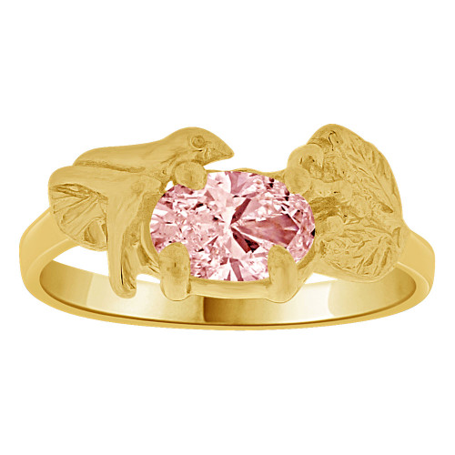 14k Yellow Gold, Small Size Children Kids Baby Ring Adult Pinky Ring Bird Leaves Design Created CZ Crystal Pink (R261-710)
