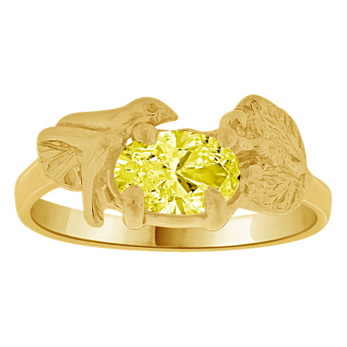 14k Yellow Gold, Small Size Children Kids Baby Ring Adult Pinky Ring Bird Leaves Design Created CZ Crystal Yellow (R261-711)
