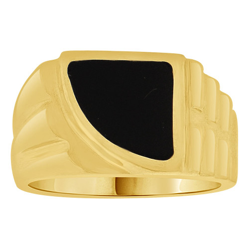 14k Yellow Gold, Small Size Fancy Abstract Design Child Ring Adult Pinky Ring Black Resin Size 4.0 (R262-002)