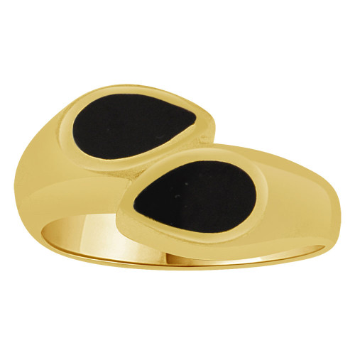 14k Yellow Gold, Fancy Abstract Design Ring Black Onyx Resin Size 7.0 (R262-008)