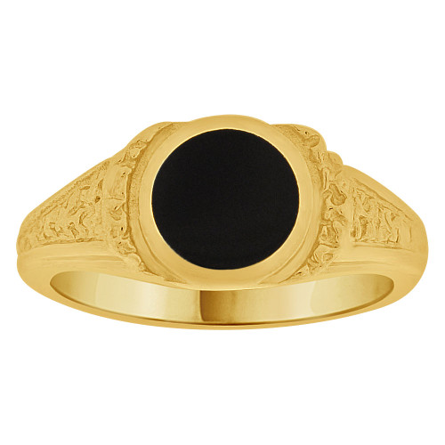 14k Yellow Gold, Fancy Abstract Design Ring with Black Onyx Resin Center Size 7.5 (R262-009)