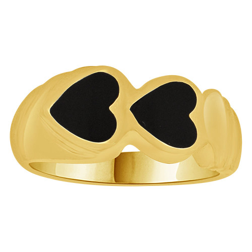 14k Yellow Gold, Fancy Abstract Heart Design Ring with Black Onyx Resin Center Size 7.5 (R262-010)