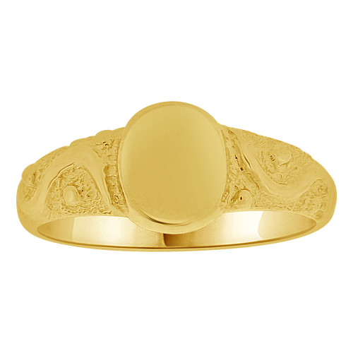 14k Yellow Gold, Mini Size Baby Child Kid Ring Lady Pinky Ring Signet Design (R262-012)