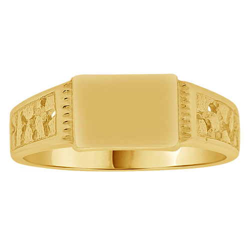 14k Yellow Gold, Mini Size Baby Child Kid Ring Lady Pinky Ring Signet Design (R262-013)