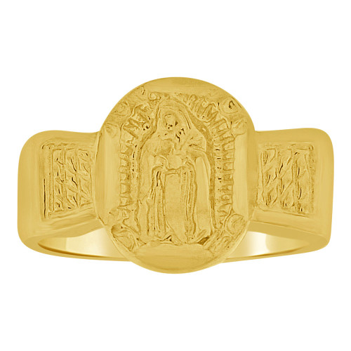 14k Yellow Gold, Small Mini Size Baby Child Kid Ring Holy Lady Virgin Design (R262-016)