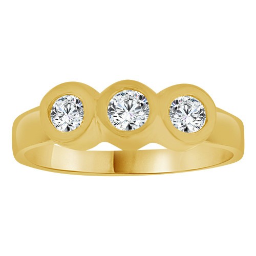 14k Yellow Gold, Small Baby Child Kid Ring Lady Pinky Ring Created CZ 3 Crystals (R262-019)