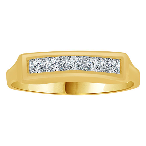 14k Yellow Gold, Modern Design Lady Tapered Ring Created CZ Crystals Princess Cut  (R262-020)