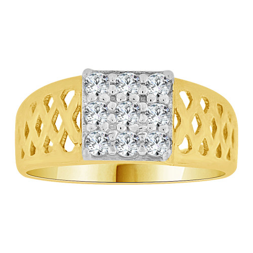 14k Yellow Gold, Mini Size Baby Child Kid Ring Modern Design Created CZ Crystals (R262-021)