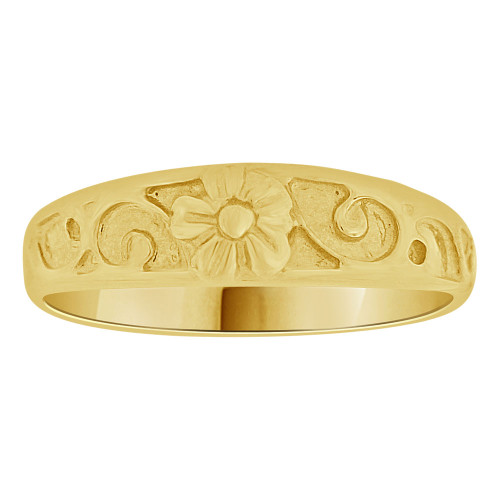 14k Yellow Gold, Small Size Baby Child Kid Ring Lady Pinky Ring Band Flower Design (R262-022)