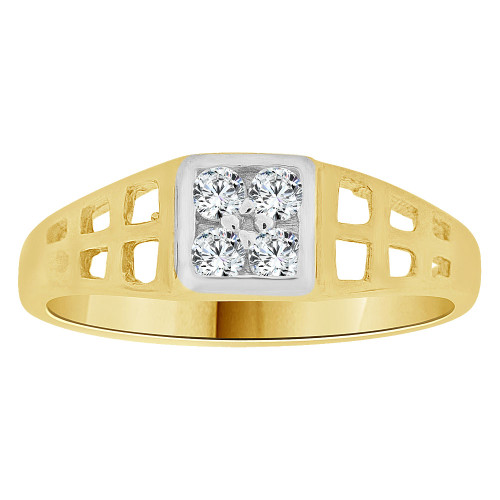 14k Yellow Gold, Small Size Baby Child Kid Ring Lady Pinky Ring Created CZ Crystals (R262-025)