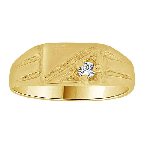 14k Yellow Gold, Mini Size Baby Child Kid Ring Modern Design Created Cubic Zirconia Crystal (R262-026)