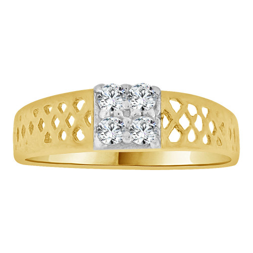 14k Yellow Gold, Mini Size Baby Child Kid Ring Modern Design Created Cubic Zirconia Crystals (R262-027)