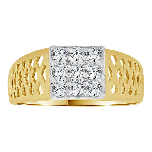 14k Yellow Gold, Small Size Baby Child Kid Ring Lady Pinky Ring Created Cubic Zirconia Crystals (R262-028)