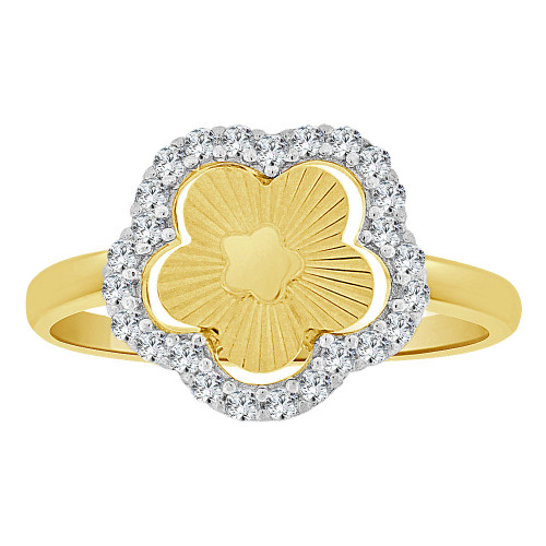 14k Yellow Gold, Fancy Sparkly Cut Ring Modern Flower Design Created Cubic Zirconia Crystals (R262-030)
