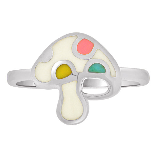 14k Gold White Rhodium, Colorful and Vibrant Enamel Resin Colors Mushroom Design (R262-079)