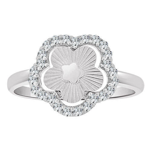14k Gold White Rhodium, Fancy Sparkly Cut Ring Modern Flower Design Created Cubic Zirconia Crystals (R262-080)