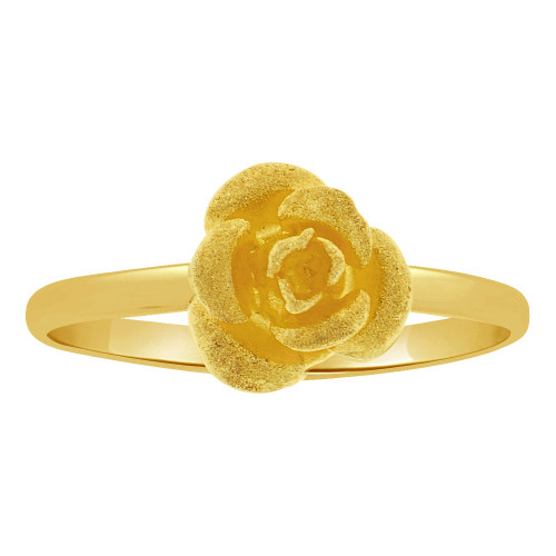 14k Yellow Gold, Classic and Elegant Design Mini Size Rose Flower Ring  (R263-006)