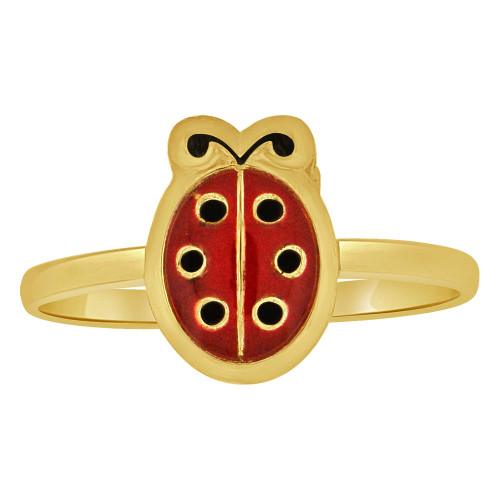 14k Yellow Gold, Small Size Vibrant Enamel Resin Colors Ring Ladybug Design (R263-008)