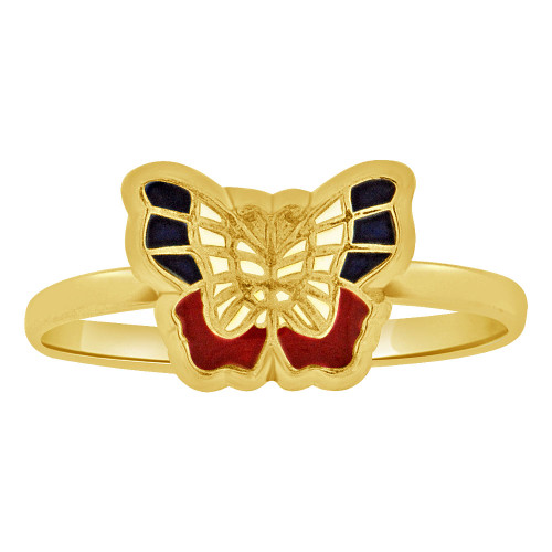 14k Yellow Gold, Small Size Vibrant Enamel Resin Colors Ring Butterfly Design (R263-009)