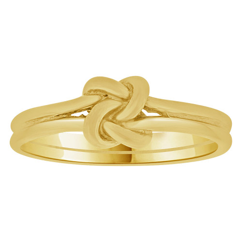 14k Yellow Gold, Small Size Baby Child Kid Ring Adult Pinky Ring Love Knot Design (R263-016)
