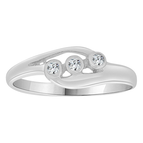14k White Gold, Small Size Abstract Children Kids Ring Adult Pinky Ring Created CZ Crystals (R263-055)