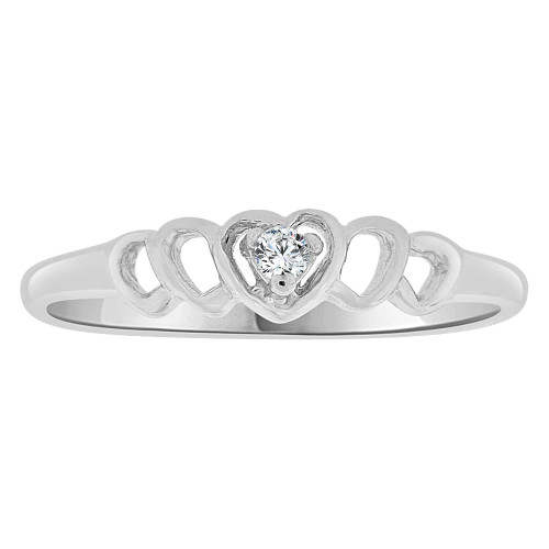 14k White Gold, Small Size Children Kids Heart Ring Adult Pinky Ring Created CZ Crystal (R263-062)