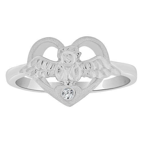 14k White Gold, Small Size Children Kids Angel Heart Ring Adult Pinky Ring Created CZ Crystal (R263-063)