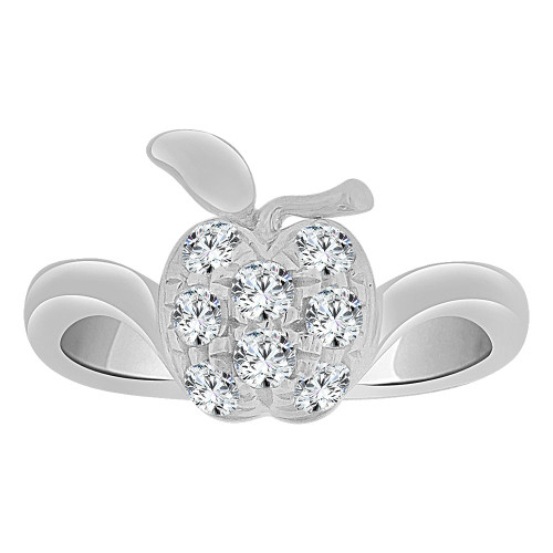 14k White Gold, Small Size Apple Children Kids Ring Adult Pinky Ring Created CZ Crystals (R263-064)