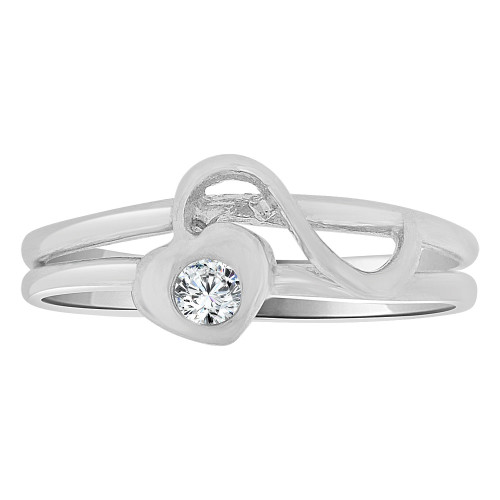 14k White Gold, Small Size Abstract Heart Child Baby Ring Adult Pinky Ring Created CZ Crystal (R263-065)
