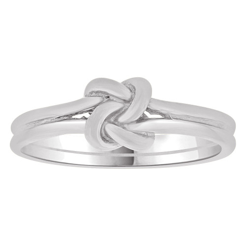 14k White Gold, Small Size Baby Child Kid Ring Band Love Knot Design (R263-066)