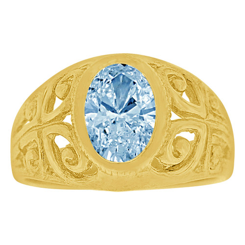 14k Yellow Gold, Filigree Small Size Child Ring Adult Pinky Ring Created CZ Crystal Aqua Blue (R263-103)