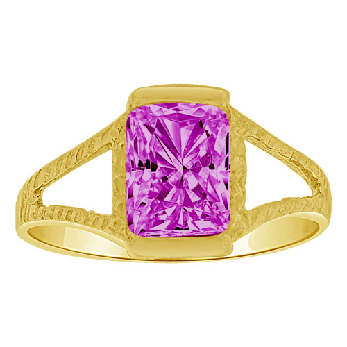 14k Yellow Gold, Small Size Child Ring Adult Pinky Ring Created Rectangular CZ Crystal Purple (R263-202)