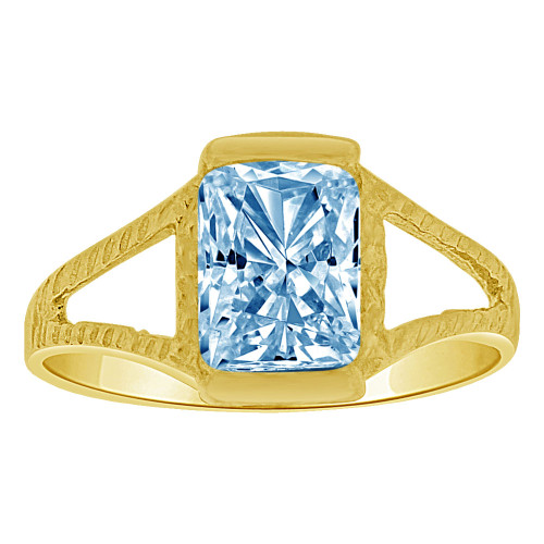 14k Yellow Gold, Small Size Child Ring Adult Pinky Ring Created Rectangular CZ Crystal Aqua Blue (R263-203)