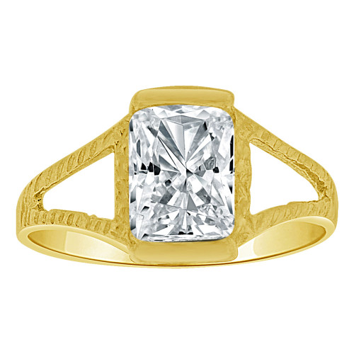 14k Yellow Gold, Small Size Child Ring Adult Pinky Ring Created Rectangular CZ Crystal (R263-204)