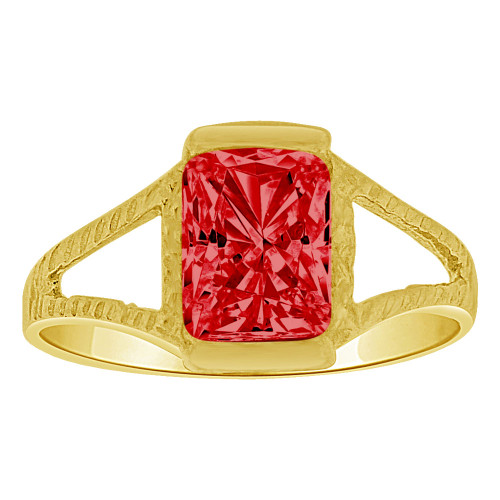 14k Yellow Gold, Small Size Child Ring Adult Pinky Ring Created Rectangular CZ Crystal Red (R263-207)
