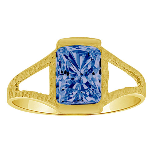 14k Yellow Gold, Small Size Child Ring Adult Pinky Ring Created Rectangular CZ Crystal Dark Blue (R263-209)